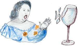 disegno di soprano che spacca il bicchiere