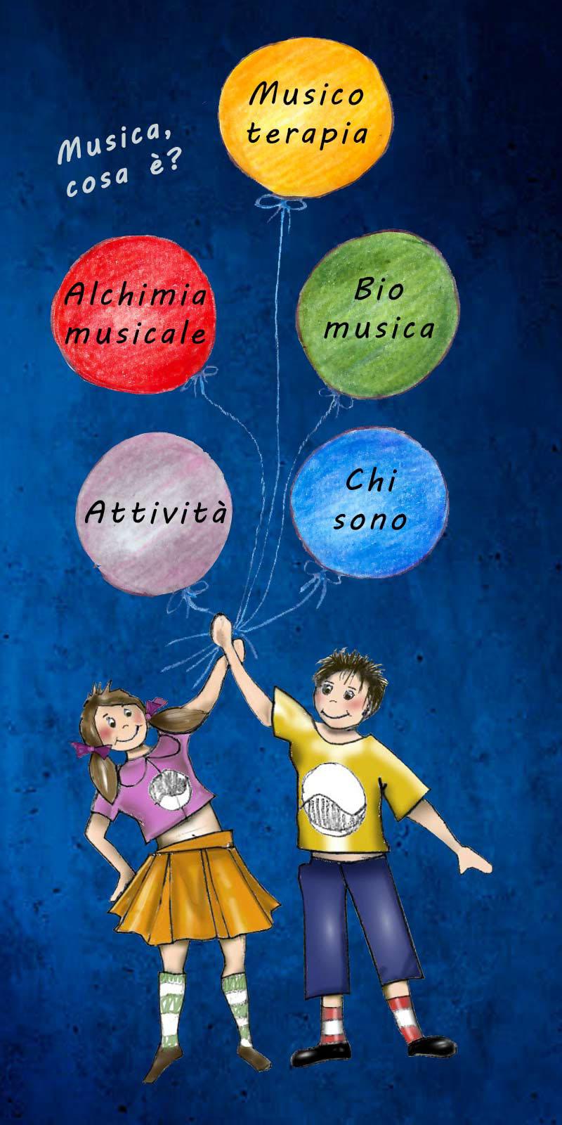 disegno di bambini con palloncini colorati