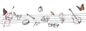 disegno di pentagramma con strumenti musicali