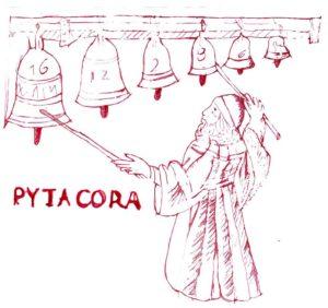 disegno di Pitagora che suona campane