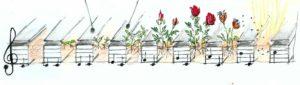 disegno piastre musicali con fiori